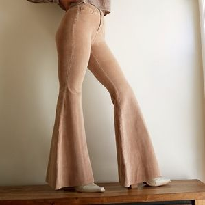 NEW Free People CRVY Tan Cord Lace Up Flares 34
